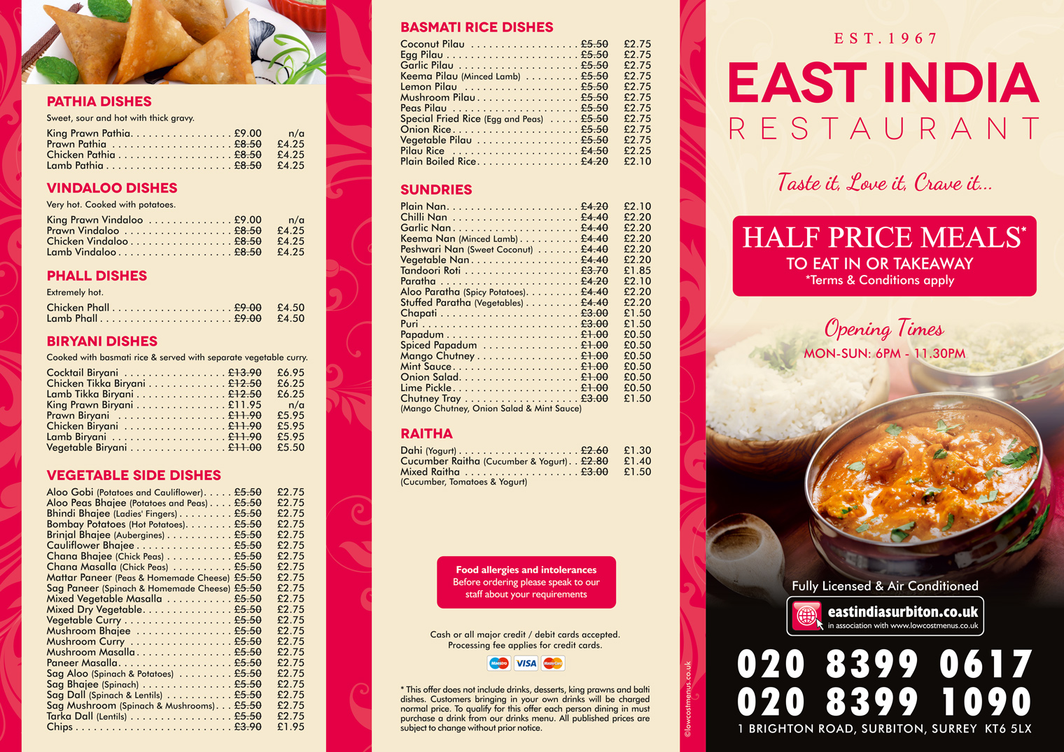 Takeaway Menu 2 - East India Restaurant – Surbiton KT6 5LX