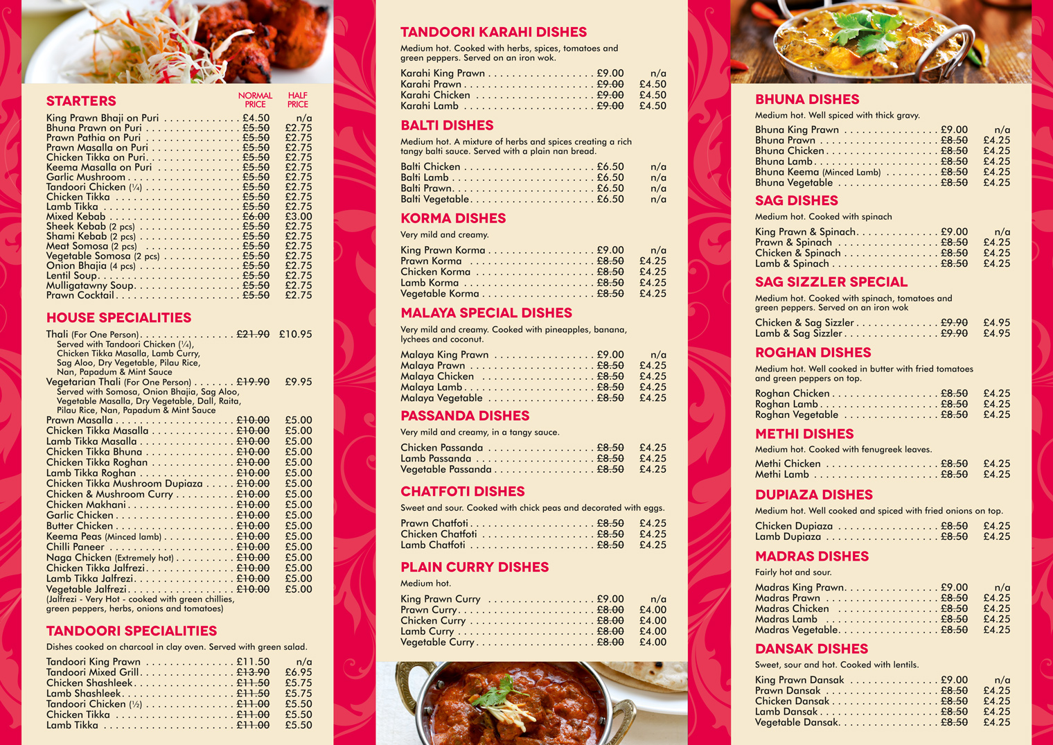 Takeaway Menu 1 - East India Restaurant – Surbiton KT6 5LX